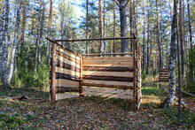 Old Military Dugouts In  Forest With Trenches Lined And Reinforced With Logs And Small Dugouts And Shelters Built From Wood Materials, Logs And Planks, Underground.