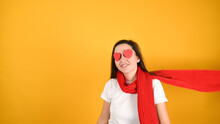 Blind Female Love Concept, On Yellow Background