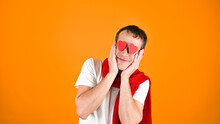 Blind Male Love Concept, On Yellow Background