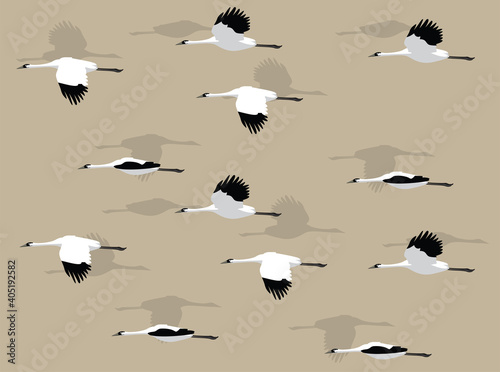 Fototapeta premium Animal Animation Whooping Crane Cartoon Illustration Seamless Background