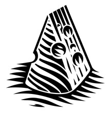 A Black And White Illustration Of A Piece Of Cheese In Engraving Style