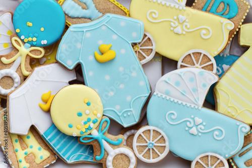 Assortment of baby shower cookies