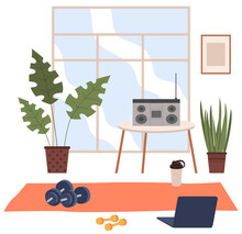 Vector Cartoon Background Of Home Gym With Window. Morning Exercises, Fitness Training With Metal Dumbbell. Sport Interior With Record Player, Bottle And Fitness Mat. Athletic, Healthy Concept