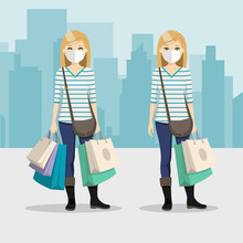 Blonde Hair Woman With Shopping Bags And Mask In Different Positions With City Background. People Vector Illustration