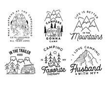 Vintage Line Art Logo Designs Set. Camping Adventure Badges Emblems. Camp Label, Hiking Insignias Bundle. Silhouette Linear Concept. Stock Vector Collection