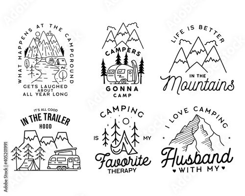 Photo Vintage line art logo designs set