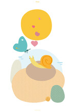 MYOW Make Your Own World - Cute Animals Snail And Butterfly In Lovely Abstract Vector Illustration
