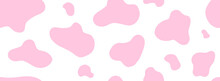 Pink Cow Seamless Pattern. Vector Long Abstract Background With Repeated Stains On A White Background