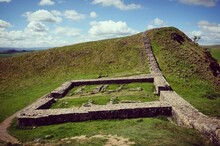 Milecastle 39 Along Hadrians Wall On A Sunny Day In Northumbria