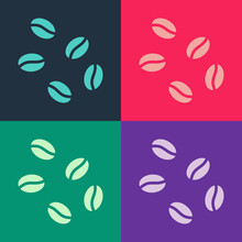 Pop Art Coffee Beans Icon Isolated On Color Background. Vector.