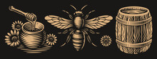 Black And White Vector Honey Illustrations In Engraving Style On Dark Background