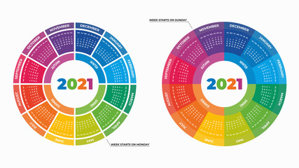 Vector illustration of colorful round calendars 2021 isolated on white background for your design