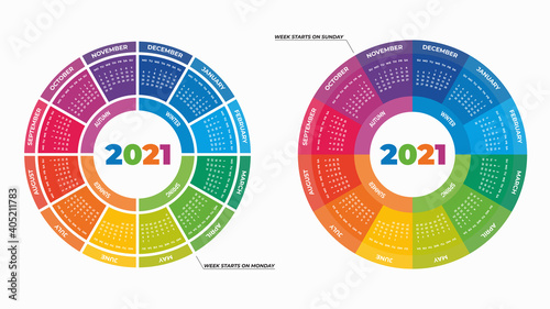 Obraz Vector illustration of colorful round calendars 2021 isolated on white background for your design - fototapety do salonu