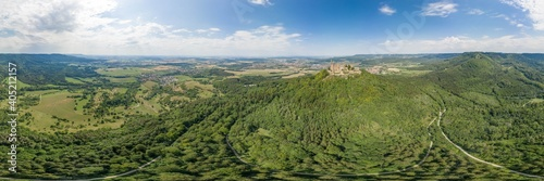 360 Spherical panorama of Hohenzollern hill with castle at summer noon