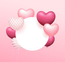 Balloon Heart Pink Colorful, Circle Space Design On Pink Background, Eps 10 Vector Illustration