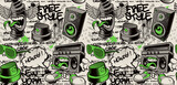 Fototapeta Młodzieżowe - Graffiti wall background, graffiti seamless pattern with different graffiti characters, this design can be used as a print for fabrics or as a wallpaper