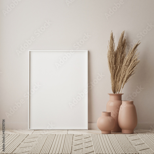 Photo mock up poster frame in modern interior background, living room, Scandinavian st