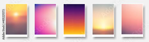 Set of multicolored blurred pixelated backgrounds.