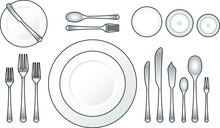 Diagram: Place Setting For A Formal Dinner With Oyster, Soup, Fish And Salad Courses.