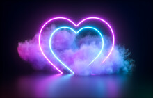 Futuristic Modern Empty Stage. Reflective Dark Room With Glowing Neon Heart Shape And Cloud. 3d Render.