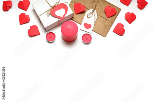 Love, Valentine's, women's day, relations, romantic template from white gift box and gift wrapped in craft paper, tied with twine with bows and labels with red hearts and candles on white background