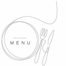 Menu Restaurant Background With Plate And Fork, Knife Vector Illustration
