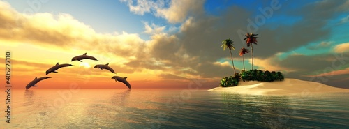 Dolphins play near the island, dolphins at sunset, Tropical island in the ocean at sunset, island with palm trees in the sea at sunset, sunrise over a tropical island,, 3D rendering