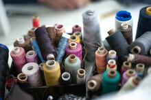 Closeup Shot Of Colorful Rolls Of Thread