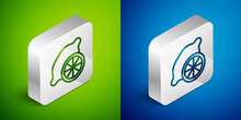 Isometric Line Lemon Icon Isolated On Green And Blue Background. Silver Square Button. Vector.