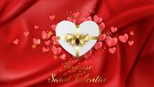 Carte Ou Bandeau Sur Joyeuse Saint Valentin En Or Sur Un Fond Rouge En Dégradé Avec Un Cadeau En Forme De Coeur Blanc Et Son Noeud Or Et Pleins De Petits Coeurs Rose Autour