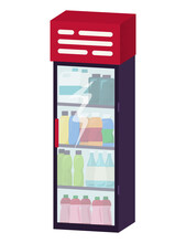 Fridge With Cold Drink, Non Alcoholic Carbonated Beverage And Juice Standing In Vending Machine Flat Vector Illustration, Isolated On White. Concept Store Soft Drink Cabinet, Modern Technology.