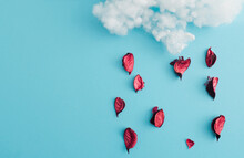 Rain Delivered In The Form Of Rose Petals - Artistic Presentation. Blue Background In Harmony With Other Colors. Flat Lay.