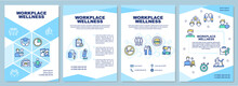 Workplace Wellness Brochure Template. Health Promotion Activity. Flyer, Booklet, Leaflet Print, Cover Design With Linear Icons. Vector Layouts For Magazines, Annual Reports, Advertising Posters
