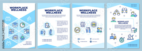 Fototapeta Workplace wellness brochure template. Health promotion activity. Flyer, booklet, leaflet print, cover design with linear icons. Vector layouts for magazines, annual reports, advertising posters obraz