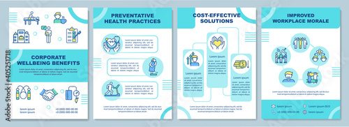 Obraz Corporate wellbeing benefits brochure template. Health practices. Flyer, booklet, leaflet print, cover design with linear icons. Vector layouts for magazines, annual reports, advertising posters - fototapety do salonu