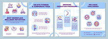 Best Workplace Wellness Initiatives Brochure Template. Health Programs. Flyer, Booklet, Leaflet Print, Cover Design With Linear Icons. Vector Layouts For Magazines, Annual Reports, Advertising Posters