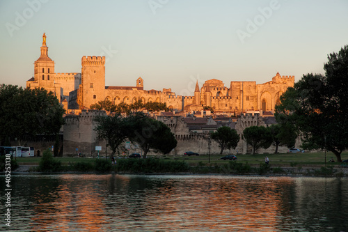 Photo Avignon with Popes Palace during sunset in Provence, France