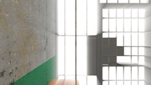 Prison Room Inside With Shine Rays, Computer Generated. 3d Rendering Grunge Background.