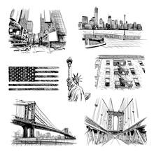 Hand Drawn New York City Collage, Vector Illustration