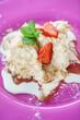 Leinwandbild Motiv tasty cake with strawberries and mint
