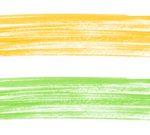Hand Drawn Dry Paint Textures. Green, Yellow Watercolor Border, Banner. Textured Hatching, Dynamic Watercolour Long Brush Strokes, Smears, Stripes Painted Background. Artistic Eco Template For Text.