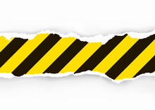 Under Construction, Ripped Paper Background.  Lllustration Of Torn Paper Stripe With Yellow Stripes . Design Element For Banners. Vector Available.