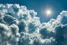 Beautiful Glorious Blue Sky With Big Comulunimbus Clouds And Sun Rays