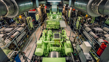 Industrial Green Machine And Engine Room Of Ship