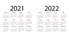 White Pocket Vector Calendar 2021 2022 Years. Minimal Business Simple Clean Design. Classic Grid, Week Starts From Sunday