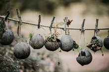 Decoration On Coconut Shell On Rope