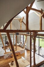 Wooden Roof Beams In Living Room At Home
