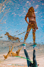 Reflection Of Woman And Dog In Puddle