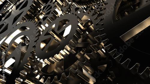 Fototapeta Metallic gears at black background. Decorative frame. Abstract seamless dark surface. 3D rendering. Close up obraz