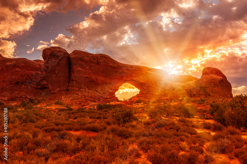 Canvas North Window Arch at sunrise in the Arches National Park, Utah USA